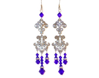 Royal blue chandelier earring – Etsy:SWAROVSKI Crystal Chandelier Earrings Very Long 3.75