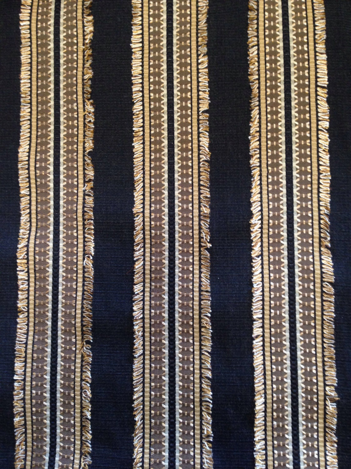 Gold And Black Eyelash Striped Upholstery Fabric Textured