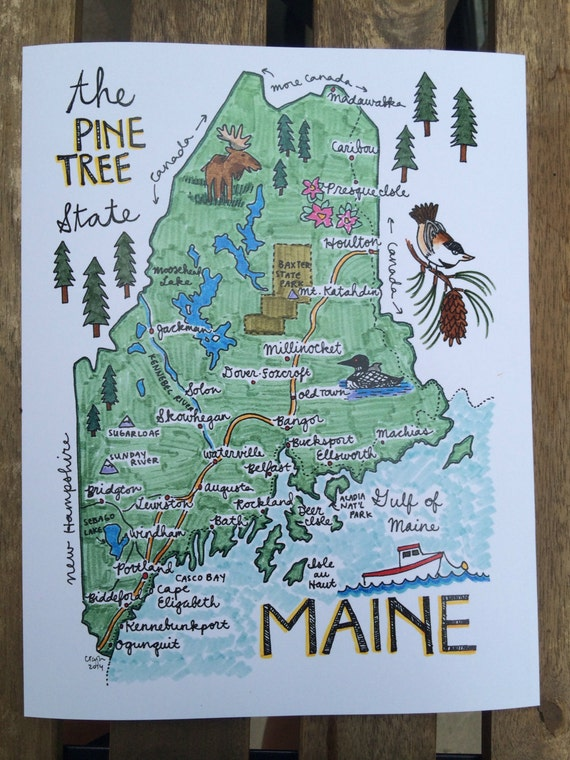 Fabulous image with printable map of maine