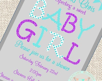 Baby shower invitation aqua and purple