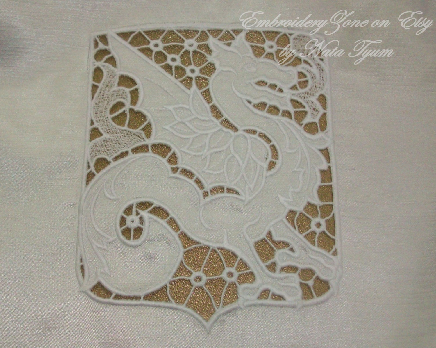 Dragon geraldic richelieu cutwork embroidery design machine