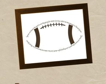 Philippians 3:14 FOOTBALL 8x10  Wall Art Files - INSTANT DOWNLOAD