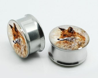 Fox Ear Plugs, Screw Flesh Tunnel Ear Plug Taper Earring Stretcher Plug Ear Tunnel,Free Gift Box