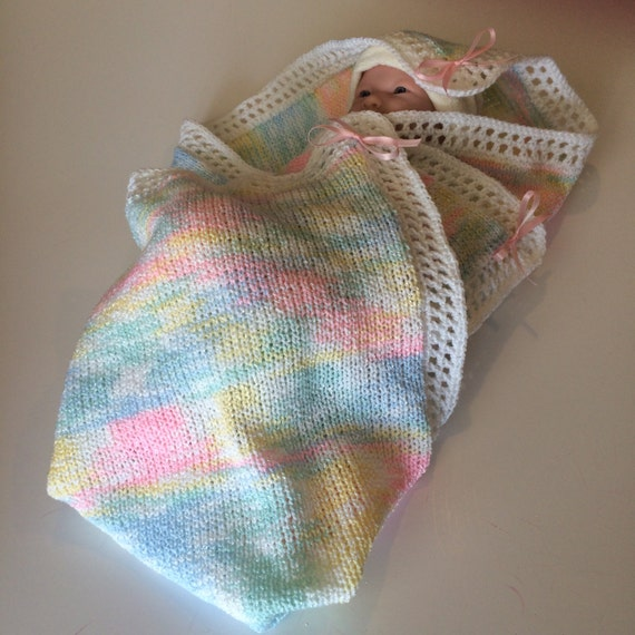 Knitting Edges For Baby Blankets : Knitted multicolored baby blanket with crochet by