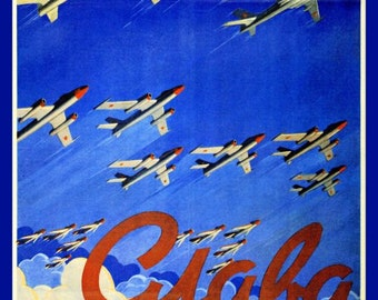 Glory to Soviet Aviation! Soviet era propaganda poster