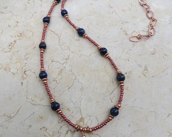 Lapis & Copper Buddha Pendant Necklace