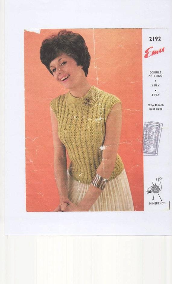 Sleeveless Sweater Double Knitting Pattern 3ply Knitting