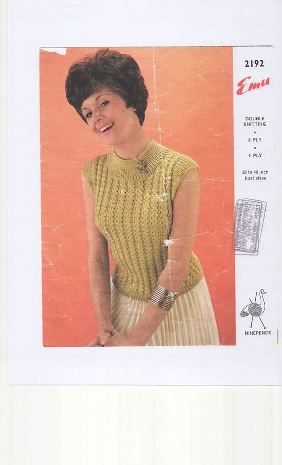 Knitting Pattern Sleeveless Pullover : Sleeveless Sweater Double Knitting Pattern 3ply Knitting