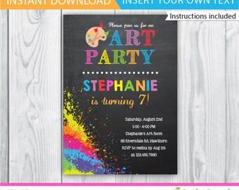 Art Party Invitation / Kids Art Party invitation / Printable Art Party Invitation / Art Party Invite / Rainbow Art Party Invitation INSTANT