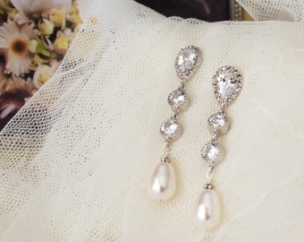 Pearl Bridal Earrings Pearl Wedding Jewelry Long Bridal Earrings Swarovski Pearl Earrings Dangle Earrings Pearl Bridal Jewelry