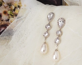 Pearl Bridal Earrings Pearl Wedding Jewelry Long Bridal Earrings  White Ivory Cream Swarovski Pearls Earrings Pearl Bridal Jewelry