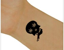 Temporary Tattoo Cannabis Skulls Tattoo Ultra Thin Fake Tattoo Waterproof