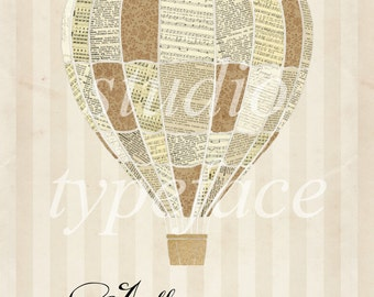 Jules Verne Balloon Print - Neutral Vintage Papers