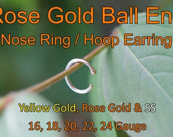 BALL END 14K Extra Small Endless Rose Gold Plated Nose Ring / Seamless Hoop Earring 22 gauge 8mm Cartilage / Tragus / Helix / Catchless