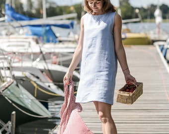 Little linen summer dress. Washed linen dress, tunica.