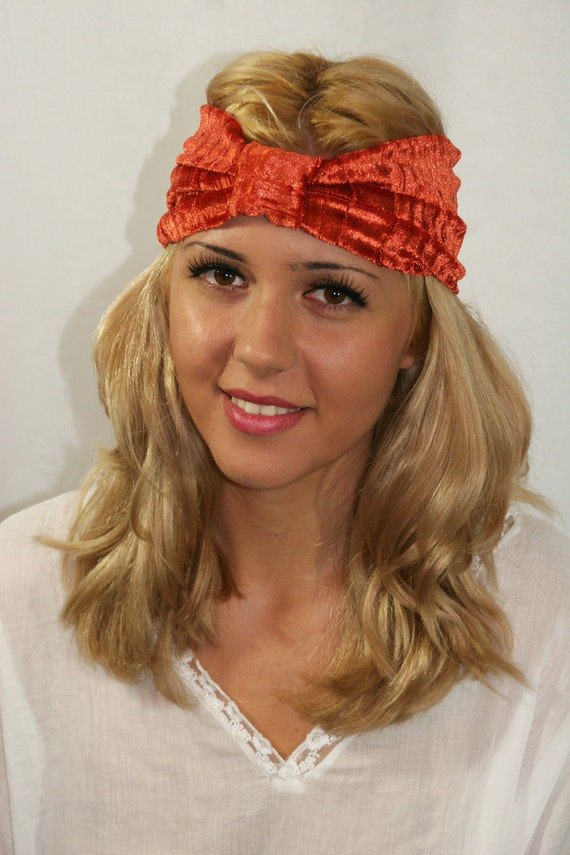 Headband, Gifting, Present, Orange-Copper Color Turban Style Headband,Delicate Sequins,Stocking Stuffer,Boho,Women's Fall Accessory (HB-102)