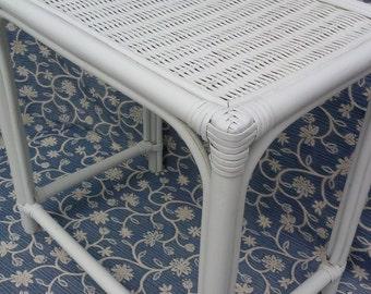 Rectangular White Rattan Table