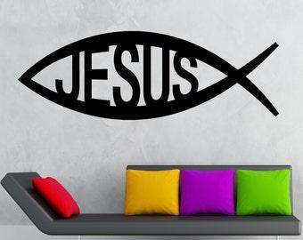 Vinyl Wall Decal Jesus Symbol of God Christianity Talisman Stickers Mural (ig2002)