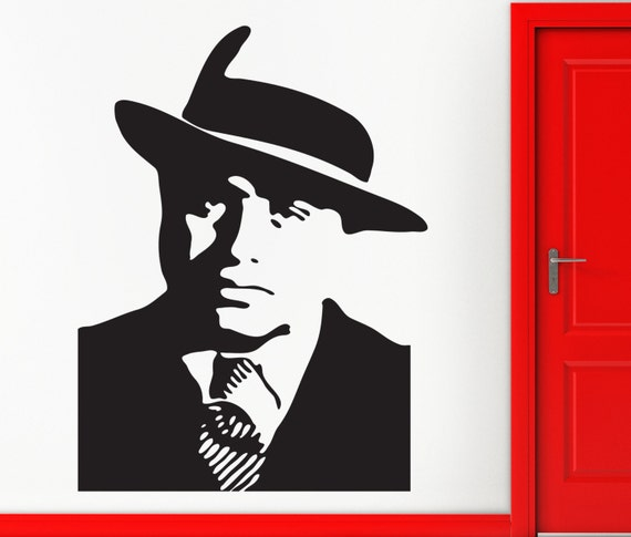 Items similar to wall stickers vinyl decal gangster al for Alabama wall mural