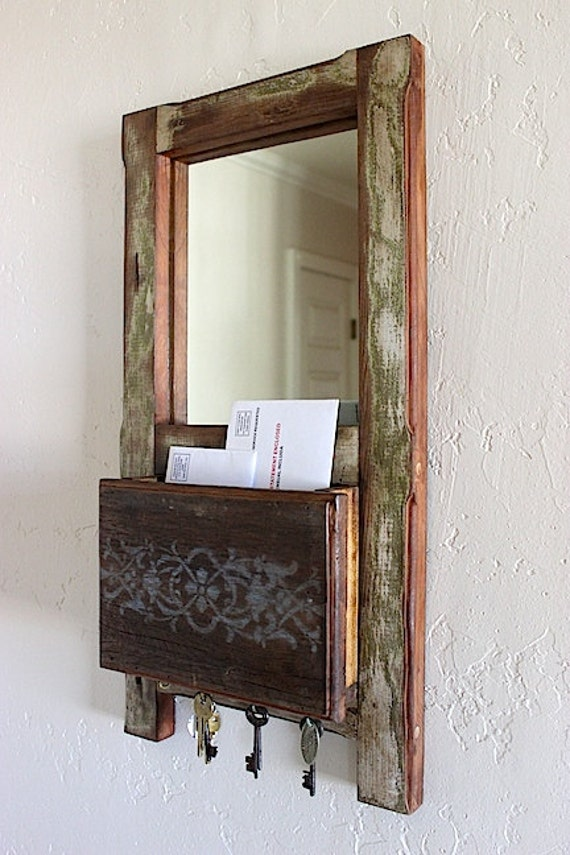 Rustic Foyer Mirror : Rustic wall mount entryway organizer mirror by