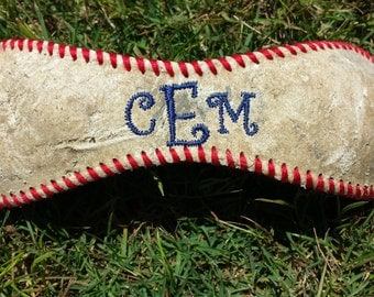 Cutsom made monogrammed baseball bracelets. Choose your colors and font!