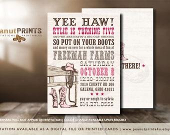 Western Birthday Party Invitation - Printed OR Digital File - by peanutPRINTS