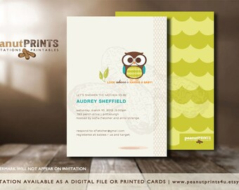 Whoo's Expecting Baby Shower Invitation - Printed OR Digital File - by peanutPRINTS