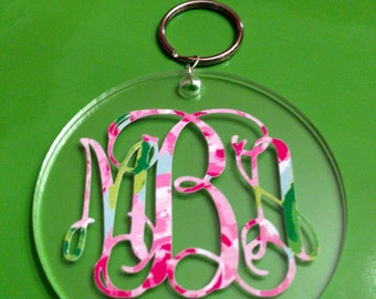 Monogrammed Lilly Keychains - Vine or Circle - Southern, Sorority, Lilly Pulitzer, Car Accessory