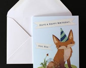 Cute Illustrated Fox Birthday Card with White Envelope...Foxy Card, Animal Birthday Card, Blank Inside, Printed in USA