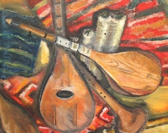 Vintage oil painting still life with musical instruments