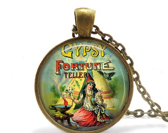 FREE SHIPPING Gypsy necklace, Fortune teller necklace, Vintage circus necklace, Gypsy circus pendant, Gypsy handcrafted pendant, Fortune tel