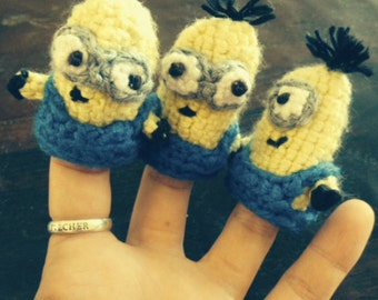 Set of Two Minion Inspired Finger Puppets, Crocheted