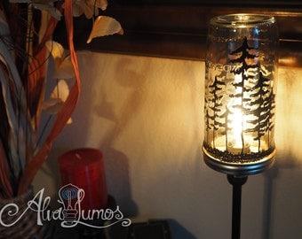 Painted Mason Jar Lamp: Custom painted Pacific Northwest Forest Tree - bedside lamp - living room lamp - mason jar decor - mason jar lamp