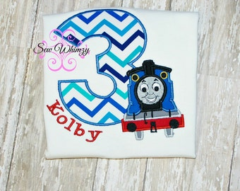 Thomas train birthday shirt or one piece bodysuit