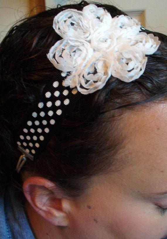 Black and White Polka Dot Headband, White Flower Headband, Black and White Headband, Stretch Headband with Organza Ruffled White Flower