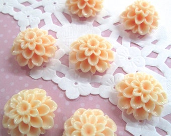 Peach 21mm Mum Flower Cabochons Chrysanthemum Cabs