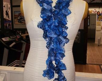 Hand Crocheted Ruffle Scarf With Metallic Thread