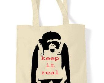 Banksy Keep It Real Shopping Bag