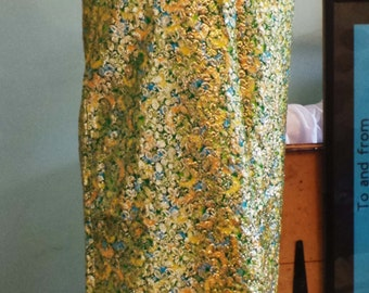 Amazing gold & green full length evening dress early 1970s MORTIMER of LONDON size 12-14