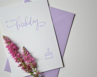 Birthday Cake- Letterpress Card- Happy Birthday