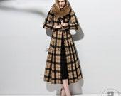 Cashmere coat women coat long coat fur collar coat  plaidscoat  tweeds coat  wool coat single-breasted coat  warm coat winter coat C50