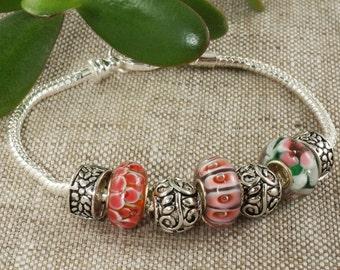 "Euro Bracelet ""Pink Flowers"" (#5106)"