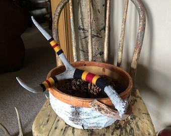 Yarn Bombed Mule Deer Antler / Yarn Wrapped by Hand / Black Maroon & Gold