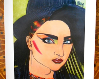BOY GEORGE Original Art 2D Print from Mixed Media Painting, Handmade and Signed