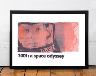 2001: A SPACE ODYSSEY Stanley Kubrick, Original Art, Minimalist Movie Poster Print 13 x 19""