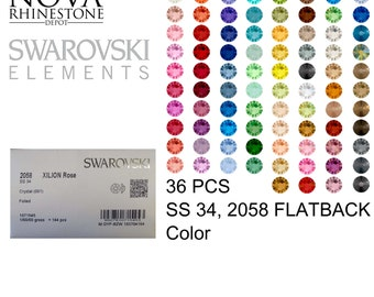 SS 34 Swarovski Element Flatback Not Hotfix 2058 COLOR 36pcs your choice 8 colors to choose from