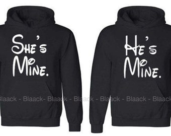 Couple Hoodie - She is Mine & He is Mine - 2 Couple Hodies -  Matching Love Hoodie