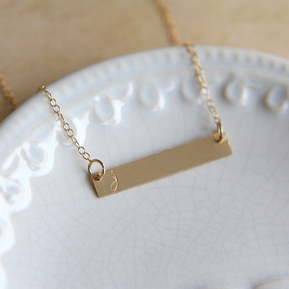 gold bar necklace rose gold nameplate necklace hand by. Black Bedroom Furniture Sets. Home Design Ideas