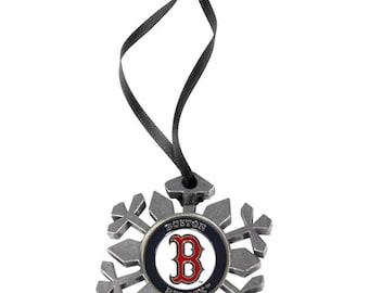 Boston Red Sox Snowflake Christmas Ornament