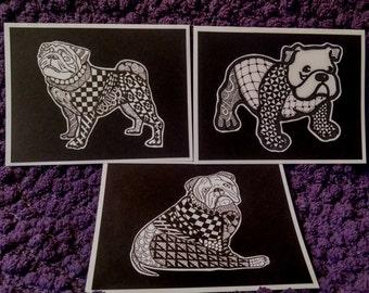 Zentangled Bulldog & Pug Greeting Cards